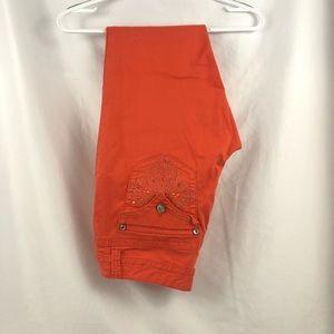 Orange bedazzled Nine West cropped jeans